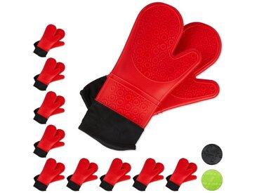 relaxdays Topfhandschuhe »10x Ofenhandschuhe Silikon rot«
