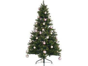 Künstlicher Weihnachtsbaum »Fertig geschmückt«, mit 60 Kugeln und LED Beleuchtung, grün, grün-champagner-rosé