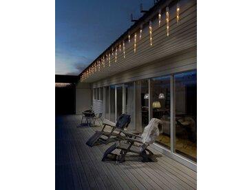 KONSTSMIDE LED Eiszapfen Lichtervorhang, 32 Zapfen, weiß, Lichtquelle bernsteinfarben, 48 LEDs, Weiß
