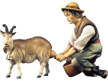 ULPE WOODART Krippenfigur »Hirte mit Ziege zum Melken« (Set, 2 Stück), Handarbeit, hochwertige Holzschnitzkunst