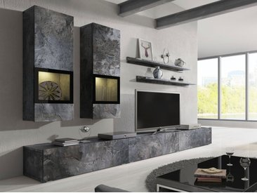 TRENDMANUFAKTUR Wohnwand »Baros«, (Set, 6-tlg), grau, schieferfarben