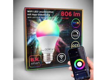 B.K.Licht LED-Leuchtmittel, E27, 1 Stück, Farbwechsler, App- Sprachsteuerung Alexa Google Home I iOS & Android I WLAN Glühbirne I Smartes Leuchtmittel
