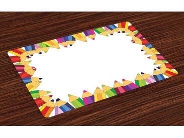 Abakuhaus Platzset, »Waschbare Stoff Esszimmer Küche Tischdekorations Digitaldruck«, (4-teilig, 4 Teilig-St., Set aus 4x), Party Bunte Bleistifte