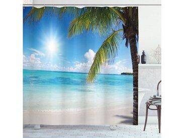 Abakuhaus Duschvorhang »Moderner Digitaldruck mit 12 Haken auf Stoff Wasser Resistent« Breite 175 cm, Höhe 180 cm, Strand Tropical Seashore Palms