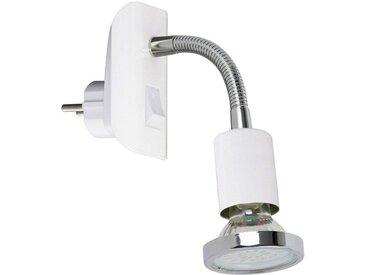 TRANGO LED Steckdosenleuchte, 11-056 LED Steckerleuchte in weiß mit Deko-Chrom Ring, Steckerlicht, Nachtlicht inkl. je 1x GU10 3000K warmweiß LED Leuchtmittel & ON/OFF Schalter Leselampe, Wandlampe