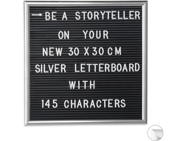 relaxdays Memoboard »Letterboard 30 x 30 cm«, silberfarben, Silber
