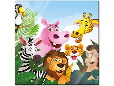 Bilderdepot24 Glasbild, Glasbild - Kinderbild Dschungeltiere Cartoon III