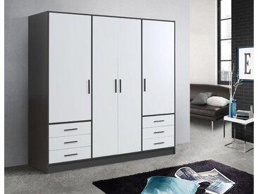 FORTE Kleiderschrank in diversen Ausführungen, schwarz, Schubladen: 6 - Türen: 4, schwarz/weiß