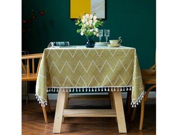 AMITRIS Tischdecke »mit hochwertiger amerikanischer Quaste« (rechteckig mit glanzent Farbtöne), gelb, Gelb