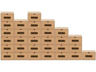 BigDean Schuhbox » 30er Boxen-Set mit Sichtfenster & Schublade - Pappkarton aus Kraftpapier - Schuhbox Spielzeug-Box Aufbewahrung für Zubehör & Accessoires«
