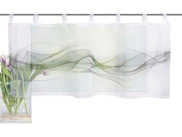 HOME WOHNIDEEN Scheibengardine »HAZE«, Schlaufen (1 Stück), HxB: 45x120, Cafehaus Voile Digitaldruck, grau, grau