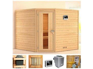 KONIFERA Sauna »Veeti«, 231x231x198 cm, 9 kW Bio-Ofen mit ext. Strg., Energiespartür, natur, 9 kW Bio-Kombiofen mit externer Steuerung, natur