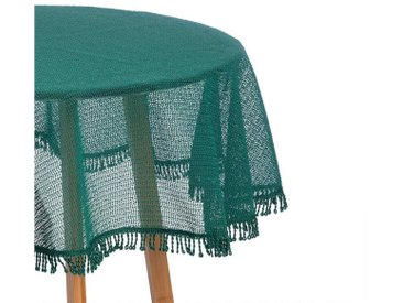 Woltu Gartentischdecke, Tischdecke mit Quaste geschäumt rund, grün, dunkelgrün
