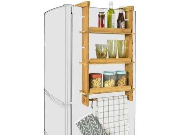 SoBuy Hängeregal »FRG150«, für Kühlschrank Gewürzregal mit 3 verstellbaren Ablagen Küchenregal, natur, Bambus, natur