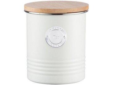 Typhoon Aufbewahrungsdose, stillvolles Design, aus Karbonstahl, mit Bambusdeckel, weiß, Tee, pastellcreme