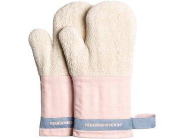Feuermeisterin Topfhandschuhe »Premium Textil Back- und Kochhandschuhe rosa Stulpe/blaues Band, Paar«