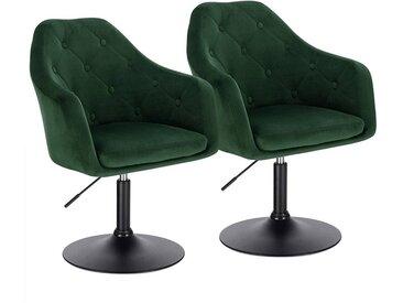 Woltu Drehsessel, 2er-Set Barsessel mit Armlehne und Rücklehne - Modell Aria, grün, dunkelgrün