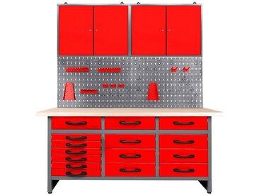 ONDIS24 Werkstatt-Set 160 cm, rot, 85 cm, anthrazit/rot