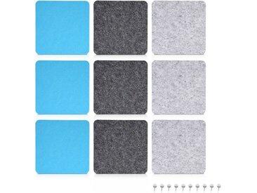 Navaris Pinnwand, Filz Memoboards Set quadratisch - 9x Filzboard 17,7x17,7cm mit Stecknadeln und Klebeband - für Küche und Büro, grau, grau-blau