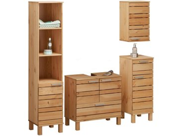 Home affaire Badmöbel-Set »Josie«, (Set, 4-St), aus Massivholz, verstellbare Einlegeböden, Metallgriffe, beige, geölt