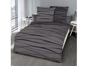 BETTWARENSHOP Wendebettwäsche »Bibermotion Zinn«, warme zeitlose Qualität, 1 St. x 135 cm x 200 cm, 2 tlg.