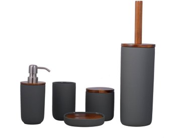 houseproud Badezimmer-Set »Combo Badset«, (Badset fünfteilig, 5-tlg., Seifenschale, Seifenspender, Zahnputzbecher, Toilettenbürste, Kosmetikdose), beschichtete Keramik mit Akazienholzelementen