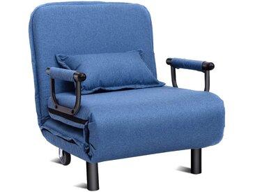 COSTWAY Schlafsofa »Schlafsessel Chaiselongue Klappbett Sofabett Klappsessel«, mit Verstellbarer Rückenlehne, inkl. Kissen, blau, blau