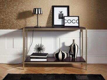 Leonique Konsolentisch »Cherlen«, mit zwei Ablageflächen und goldfarbenem Metallgestell, braun, walnuss