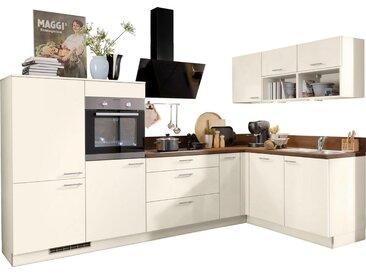 Express Küchen Winkelküche »Scafa«, mit E-Geräten, vormontiert und mit Soft-Close-Funktion, Stellbreite 305 x 185 cm, natur, Spüle rechts, magnolie