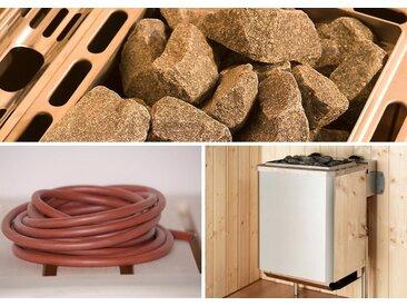 weka WEKA Set: Saunaofen »Kompakt«, 9 kW, integrierte Steuerung, inkl. Zubehör, silberfarben, silberfarben