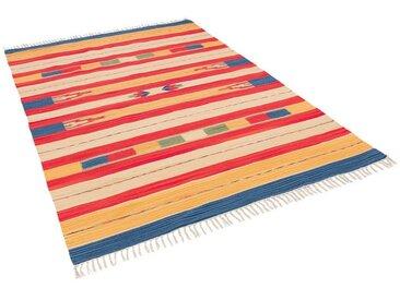 Pergamon Wollteppich »Baumwolle Natur Kelim Teppich Lina Stripes«, Rechteckig, Höhe 8 mm