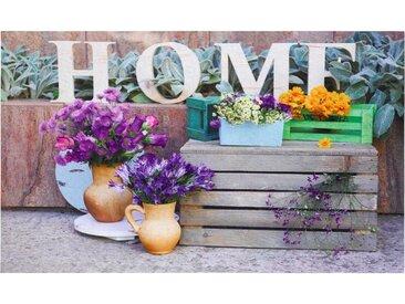 matches21 HOME & HOBBY Fußmatte »Fußmatte Gummimatte Home Gartenmotiv Blumen Pflanzkästen 45x75 cm«, rechteckig, Höhe 9 mm