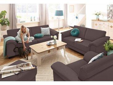 Home affaire Sitzgruppe »Anna«, (Set, 2-tlg), 2-Sitzer und 3-Sitzer, braun, braun