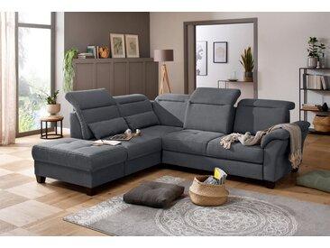 Premium collection by Home affaire Ecksofa »Solvei«, Federkern, grau, Sitztiefenverstellung, Kopfteilverstellung, grau
