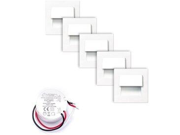 SPOT Light Einbauleuchte »Live«, 5er-Set Wandeinbauleuchten inkl. Trafo 10 W, mit integrierten LEDs, Montage in Einbaudosen mit Ø 6 cm, aus Aluguß in Weiß