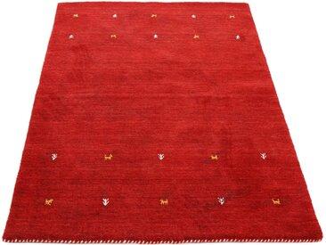 carpetfine Wollteppich »Gabbeh Uni«, rechteckig, Höhe 15 mm, handgewebt, rot, rot