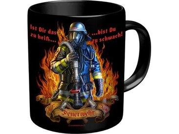 Rahmenlos Kaffeebecher mit Feuerwehrmann-Motiv, bunt, mehrfarbig