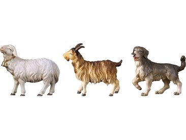 ULPE WOODART Krippenfigur »Schaf, Ziege, Hund« (Set, 3 Stück), Handarbeit, hochwertige Holzschnitzkunst
