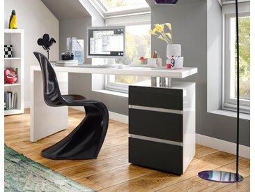 HMW Schreibtisch »Barna«, mit Container und griffloser Optik, weiß, weiß-anthrazit