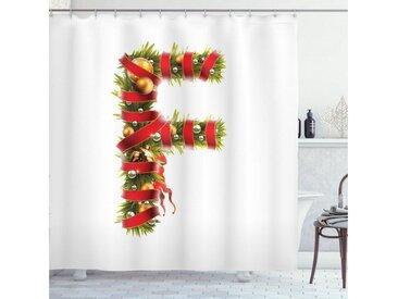Abakuhaus Duschvorhang »Moderner Digitaldruck mit 12 Haken auf Stoff Wasser Resistent« Breite 175 cm, Höhe 180 cm, Weihnachtsalphabet F Brief Motiv