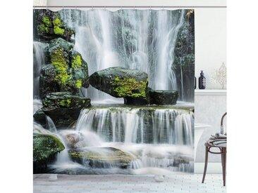 Abakuhaus Duschvorhang »Moderner Digitaldruck mit 12 Haken auf Stoff Wasser Resistent« Breite 175 cm, Höhe 180 cm, Landschaft Wasserfall mit Felsen