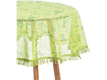 Woltu Gartentischdecke, Tischdecke mit Quaste geschäumt 3D Druck rund, grün