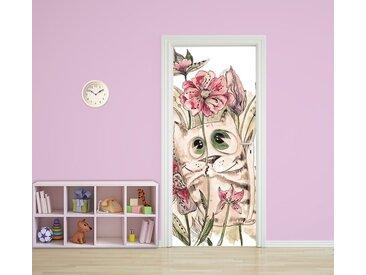 Bilderdepot24 Deco-Panel, Türaufkleber - Kinderbild Katze mit Blümchen