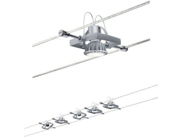 Paulmann LED Deckenleuchte »Seilsystem Mac II Chrom matt mit 5 Spots max. 10W GU5,3«, Seilsystem, 5-flammig