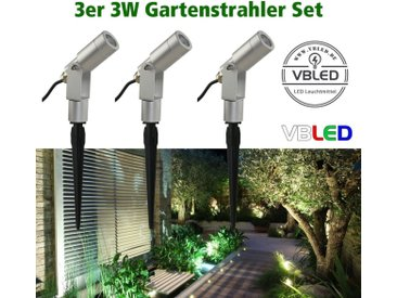 """VBLED LED Gartenstrahler »3er-Set 3W Gartenstrahler """"Flavius"""" 12V Silber«, 4000 K"""