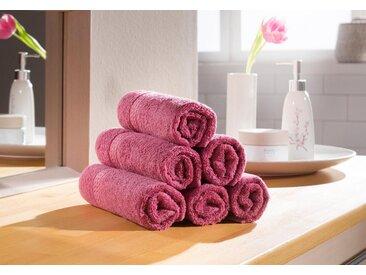 my home Gästehandtücher »Juna« (6-St), mit feiner Strukturbordüre, rosa, Kordeln, beere