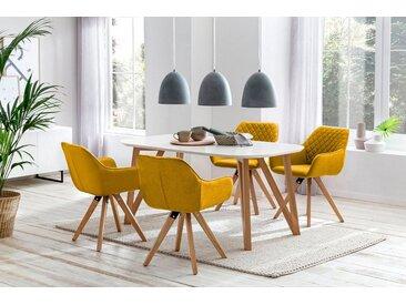 SalesFever Essgruppe, (Set, 5-tlg), bestehend aus 4 modernen Polsterstühlen und einem 160 cm breiten Tisch, gelb, Gelb
