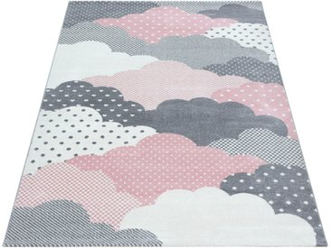 Ayyildiz Kinderteppich »Bambi 820«, rechteckig, Höhe 11 mm, Wolken Motiv, Kurzflor, rosa, pink