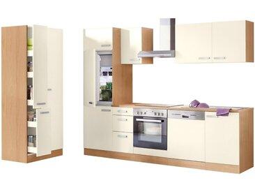 OPTIFIT Küchenzeile »Odense«, (Set), mit E-Geräten, Breite 270 cm, mit 28 mm starker Arbeitsplatte, mit Gratis Besteckeinsatz, natur, creme