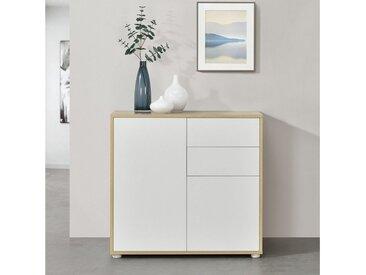 en.casa Sideboard, »Paarl« Kommode Schubladenschrank mit 2 Türen weiß/natur, natur, matt, weiß - natur